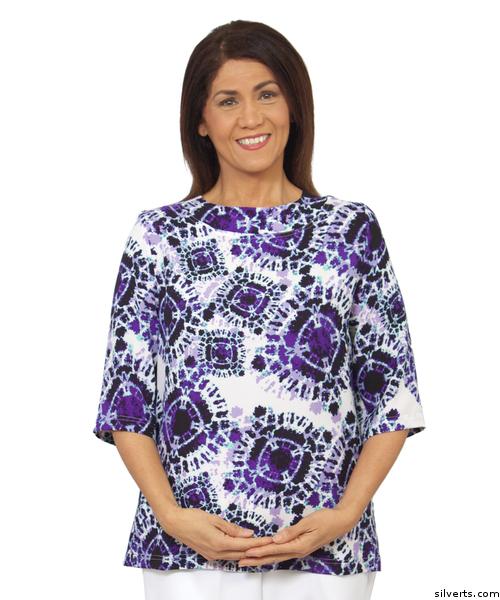 Women's blue adaptive open back top by Silvert's Adaptive Clothing & Footwear