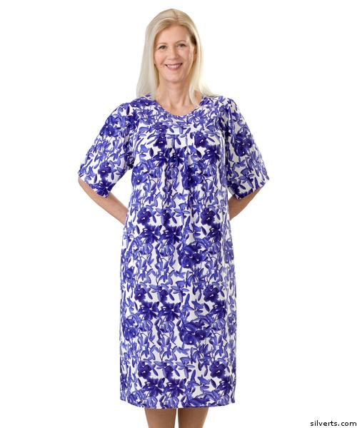 Women's Blue adaptive open back dress by SIlvert's Adaptive Clothing & Footwear