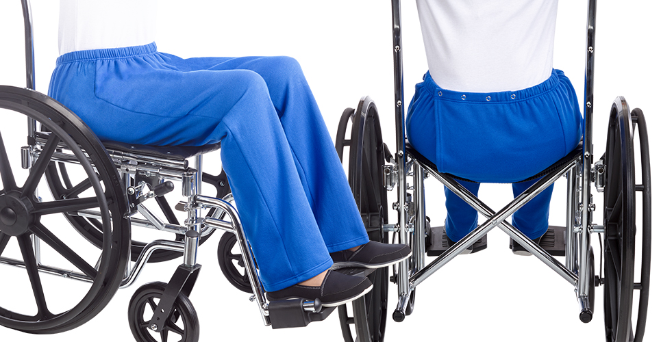 Adaptive Open Back Pant in wheelchair - demonstration of back