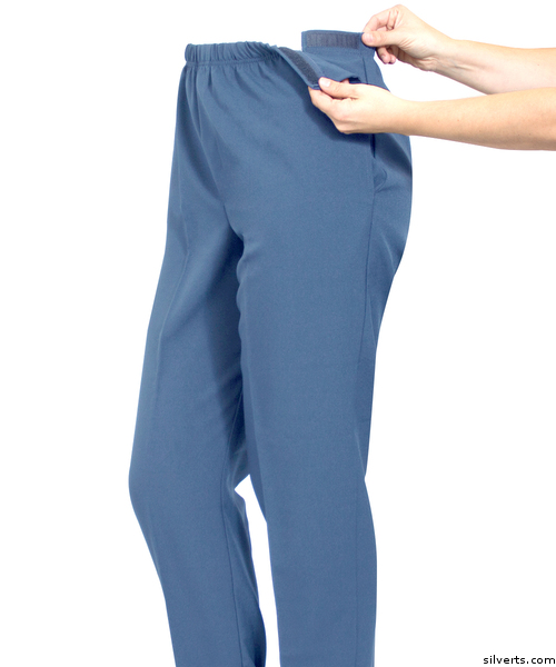 Adaptive Open side pants with side undone to demonstrate the easy touch sides