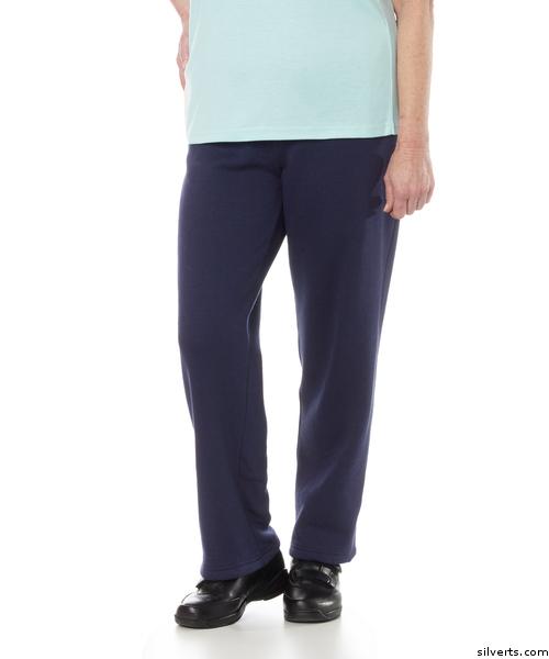 Women in adaptive open side pants, look like real pants